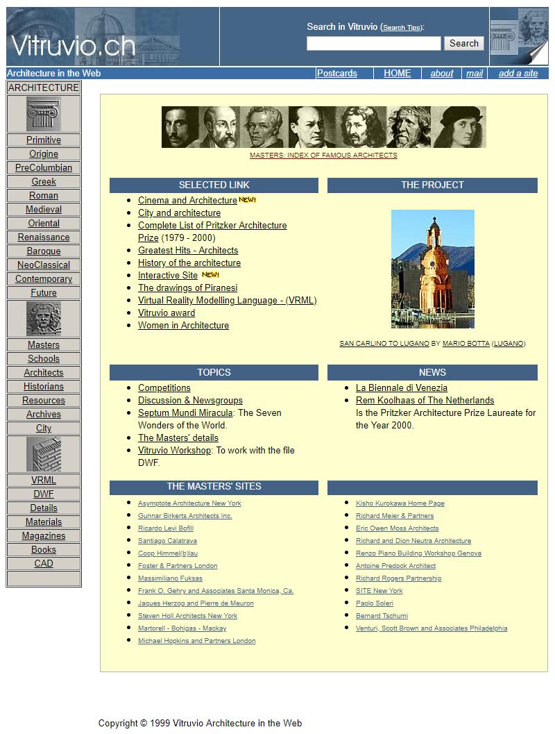 Vitruvio.ch - Versione 1999-2003